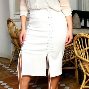 White lace up skirt Prabal Gurung for Lane Bryant
